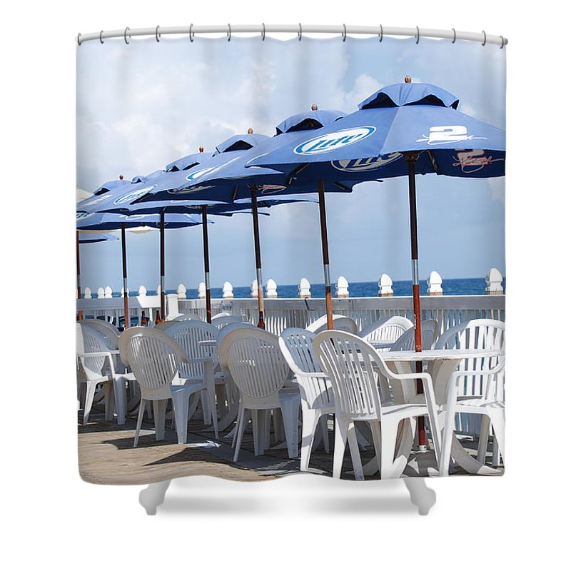 Chairs Shower Curtain featuring the photograph Beer Unbrellas by Rob Hans