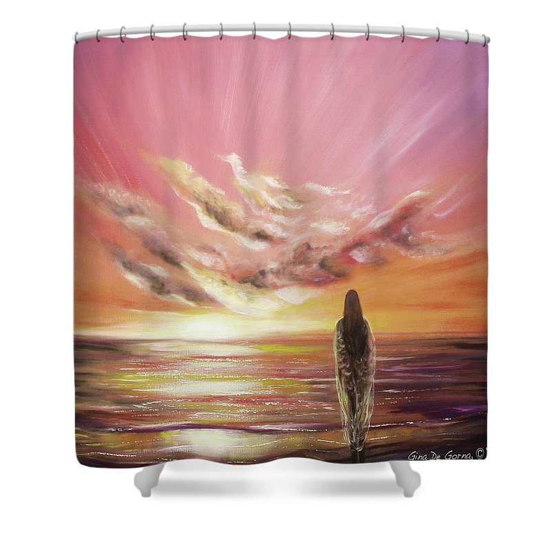 Sunset Shower Curtain featuring the painting Beyond The Sunset by Gina De Gorna
