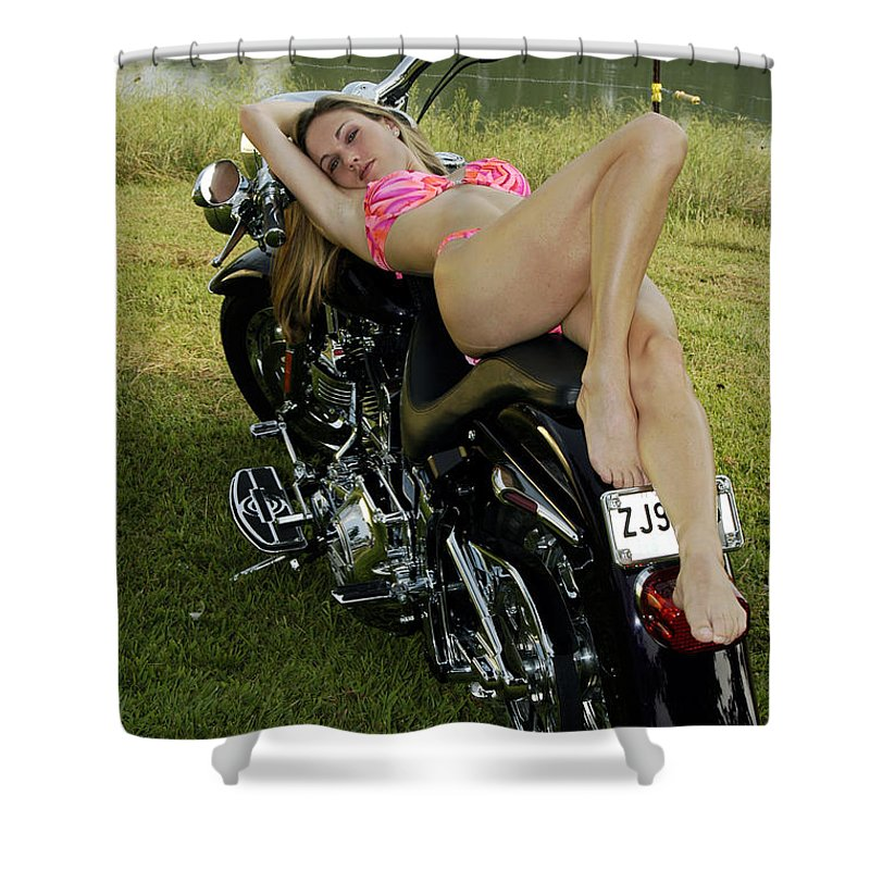 Shower Curtain featuring the photograph Bikes And Babes by Clayton Bruster