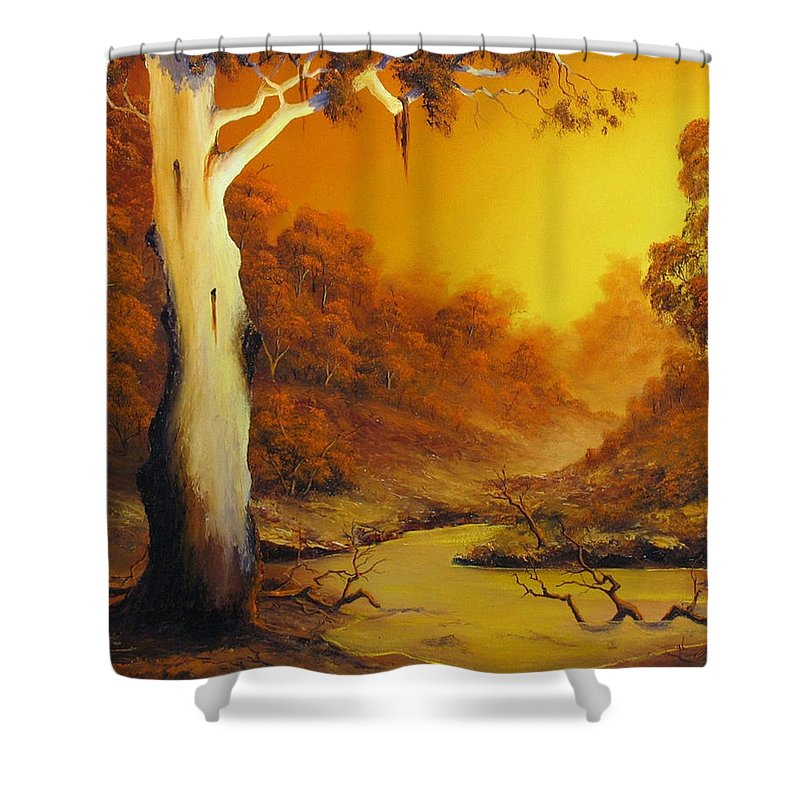 Gumtree Sunset Shower Curtain featuring the painting Billabong by John Cocoris