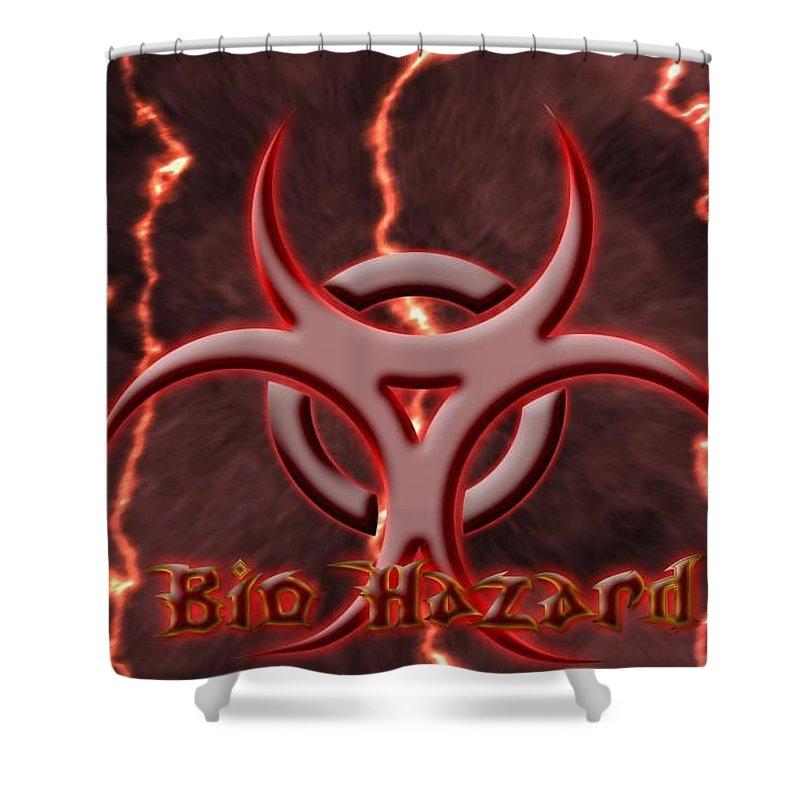 Biohazard Shower Curtain featuring the digital art Biohazard by Mery Moon