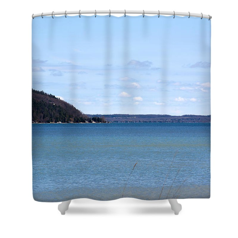 Michigan Shower Curtain featuring the photograph Blue Water by Linda Kerkau