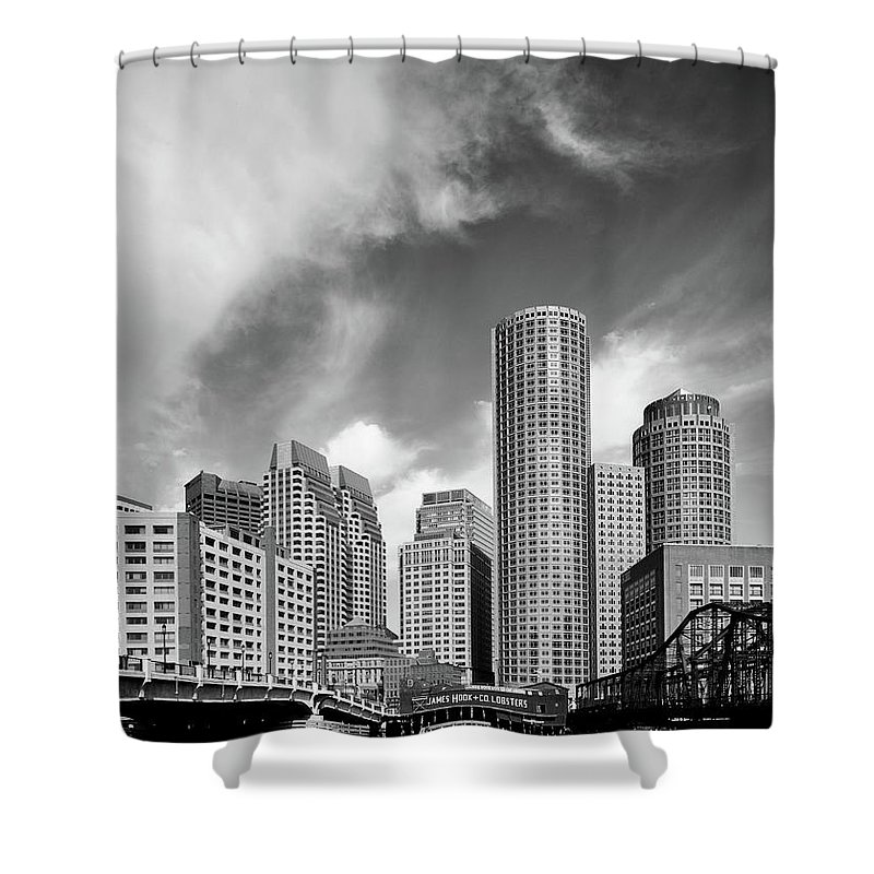 Boston Shower Curtain featuring the photograph Boston Skyline 1980s by Mountain Dreams