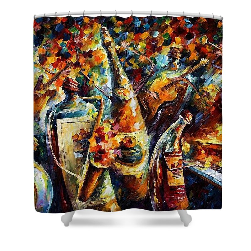 Afremov Shower Curtain featuring the painting Bottle Jazz by Leonid Afremov