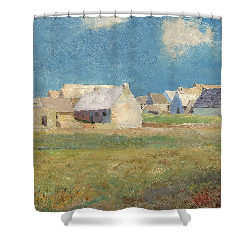 Odilon Redon Shower Curtain featuring the painting Breton Village by Odilon Redon