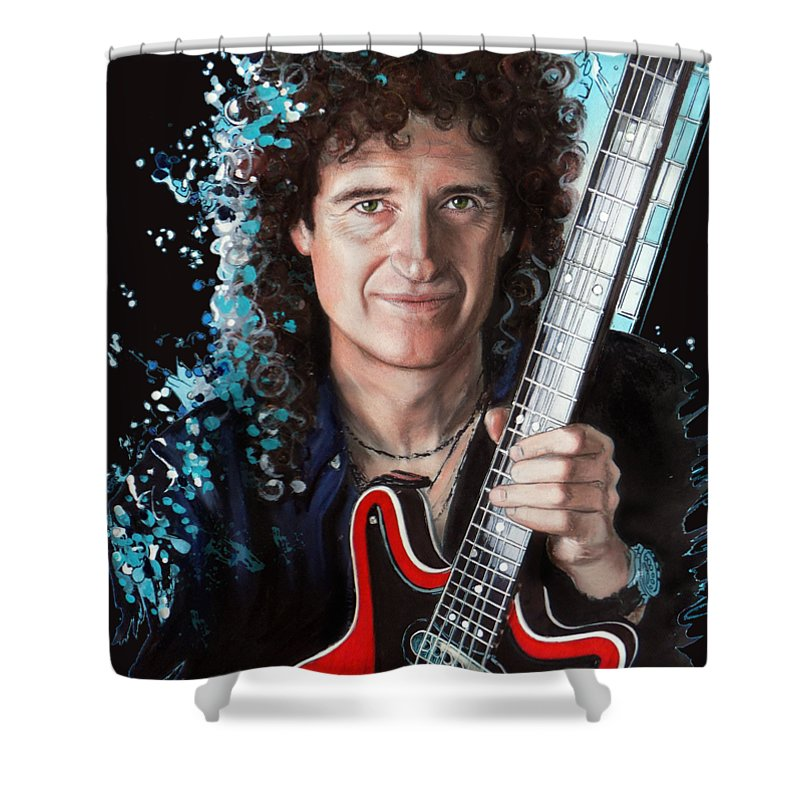 Brian May Shower Curtain featuring the pastel Brian May by Melanie D