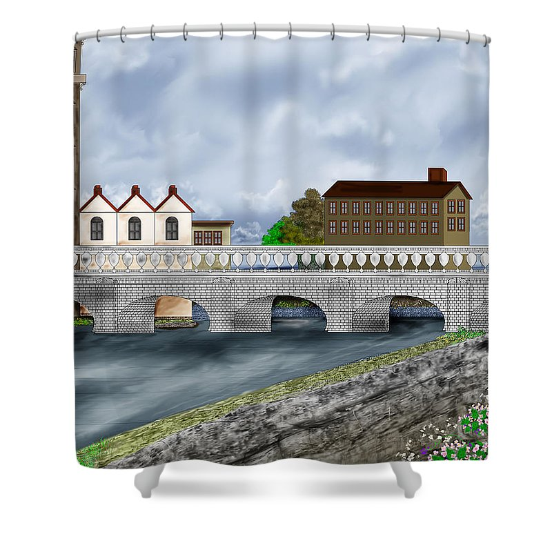 Galway Ireland Bridge Shower Curtain featuring the painting Bridge In Old Galway Ireland by Anne Norskog