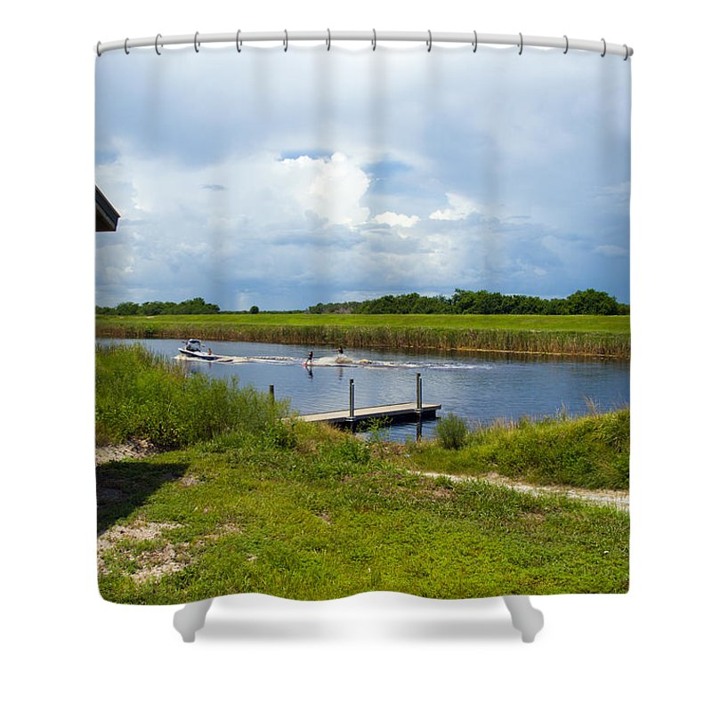 Florida; C54; Canal; Fellsmere; Sebastian; Grade; Drain; Draining; Water; Flow; Flowing; Indian; Riv Shower Curtain featuring the photograph C54 Canal In Florida by Allan Hughes