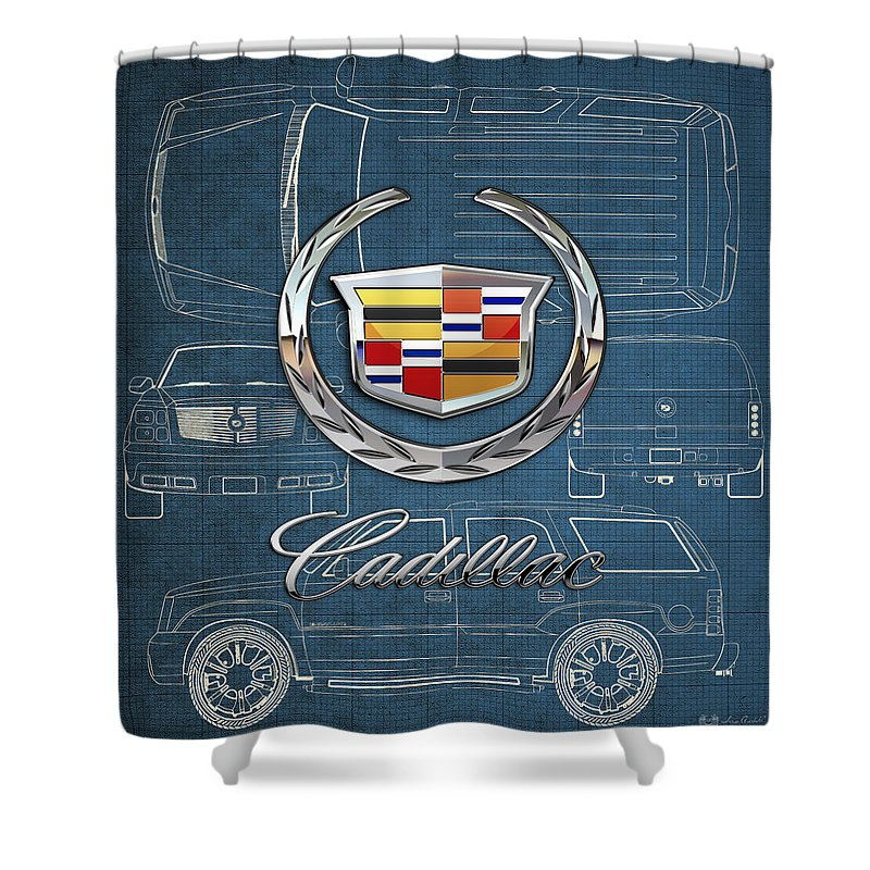 'wheels Of Fortune' By Serge Averbukh Shower Curtain featuring the photograph Cadillac 3 D Badge over Cadillac Escalade Blueprint by Serge Averbukh