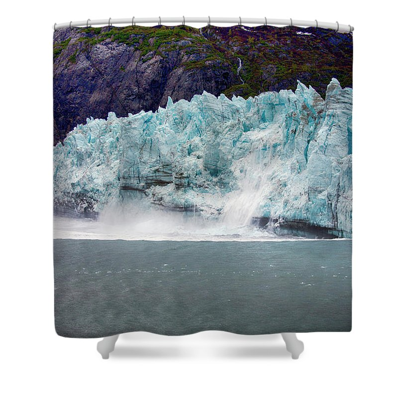Calving Shower Curtain featuring the photograph Calving Glacier by Hugh Smith