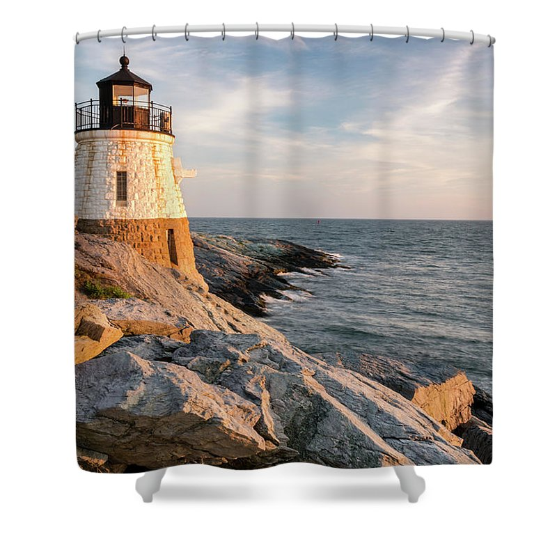 Blue Shower Curtain featuring the photograph Castle Hill Lighthouse, Newport, Rhode Island by Dawna Moore Photography
