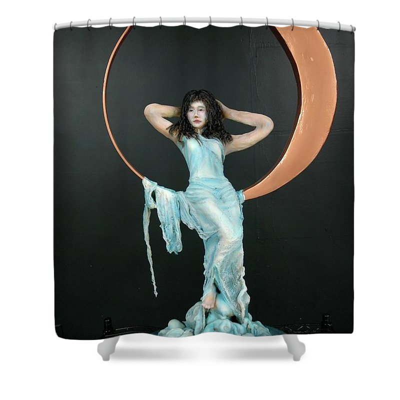 Shower Curtain featuring the sculpture Charles Hall - Creative Arts Program - First Quarter Moon by Wayne Pruse
