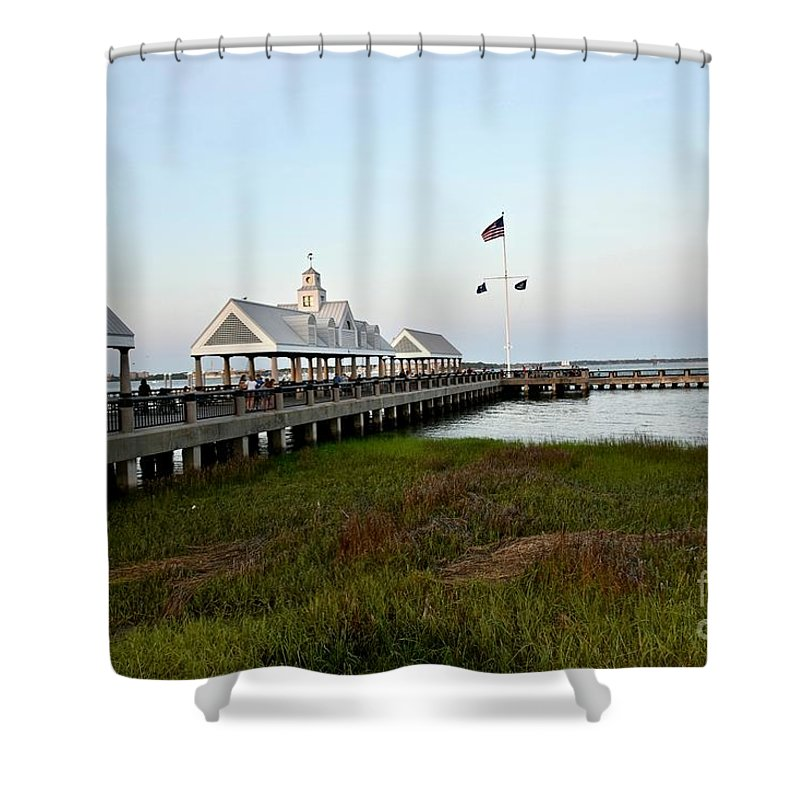 Shower Curtain featuring the photograph Charleston Waterfront Park During Sunset by Jeramey Lende