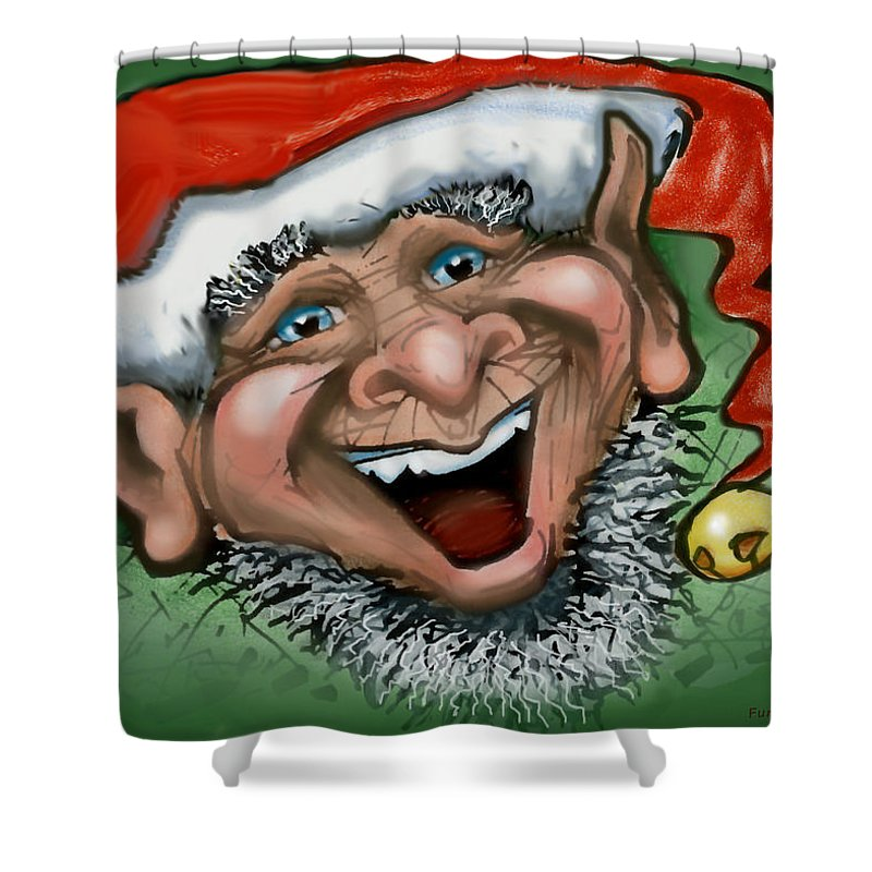 Christmas Shower Curtain featuring the greeting card Christmas Elf by Kevin Middleton
