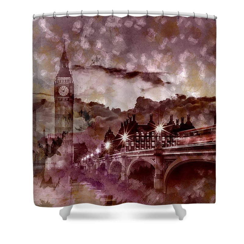 British Shower Curtain featuring the photograph City-art London Westminster Bridge At Sunset by Melanie Viola
