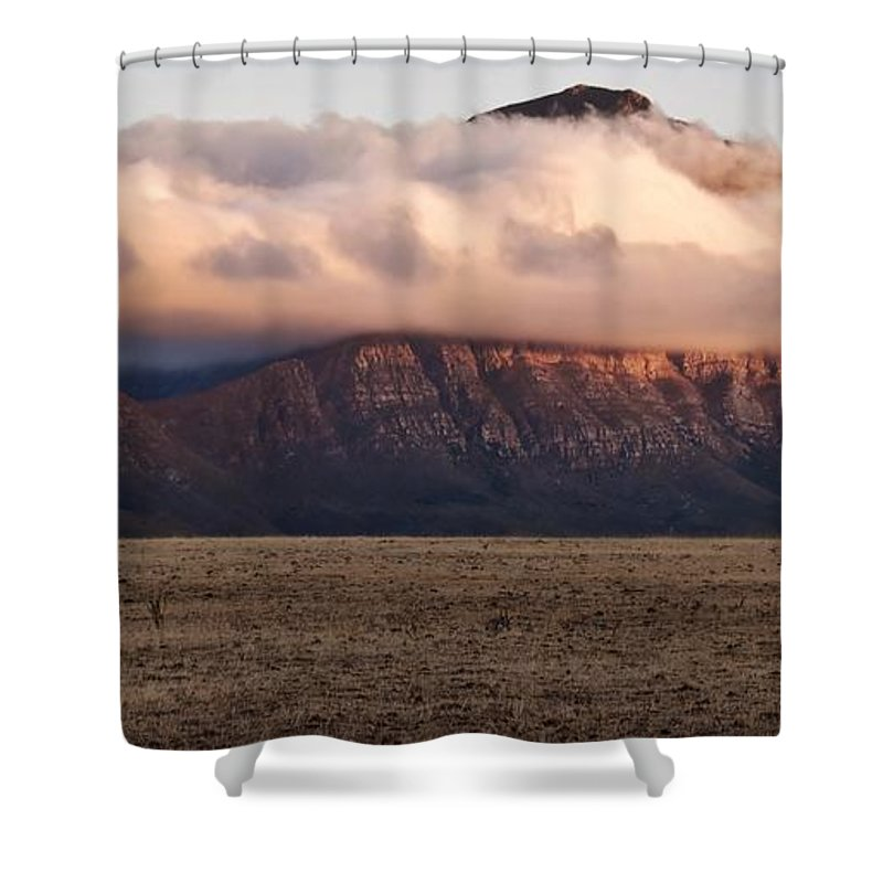 Landscape; Clouds; Ceres Mountains; Morning Light; Dry Farmland; Sky; Panorama; South Africa; Shower Curtain featuring the photograph Clouds In The Morning by Werner Lehmann