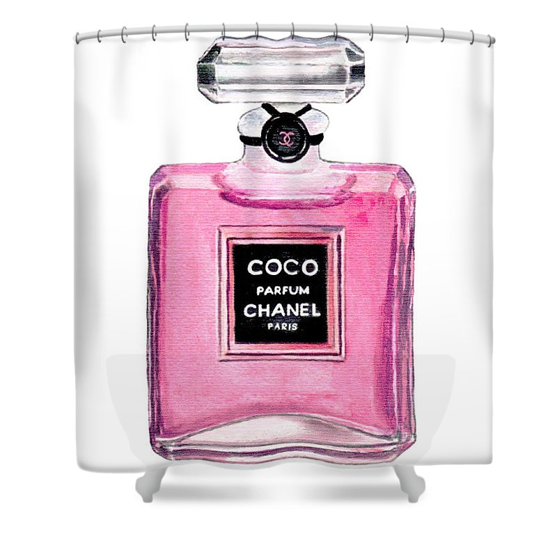 Coco Chanel Shower Curtain Featuring The Painting Perfume By Del Art