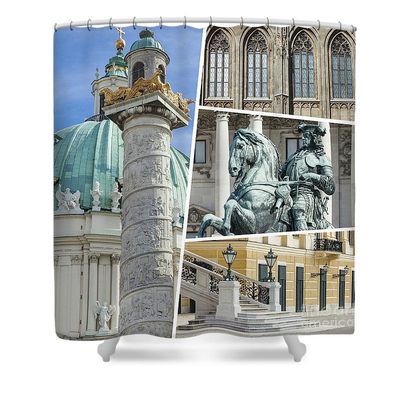Vienna Shower Curtain featuring the photograph Collage Of Vienna by Mariusz Prusaczyk
