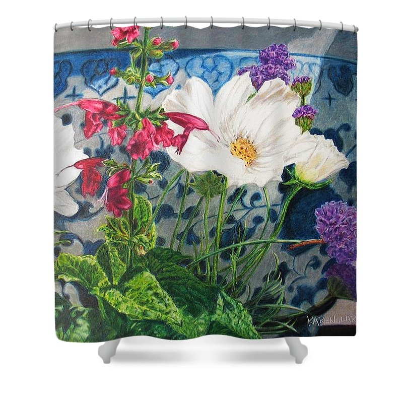 Flowers Shower Curtain featuring the painting Cosmos by Karen Ilari