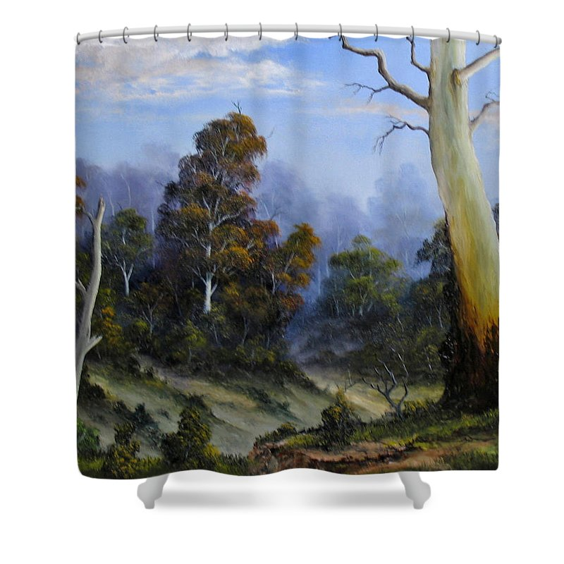 Gumtrees Shower Curtain featuring the painting Country View by John Cocoris