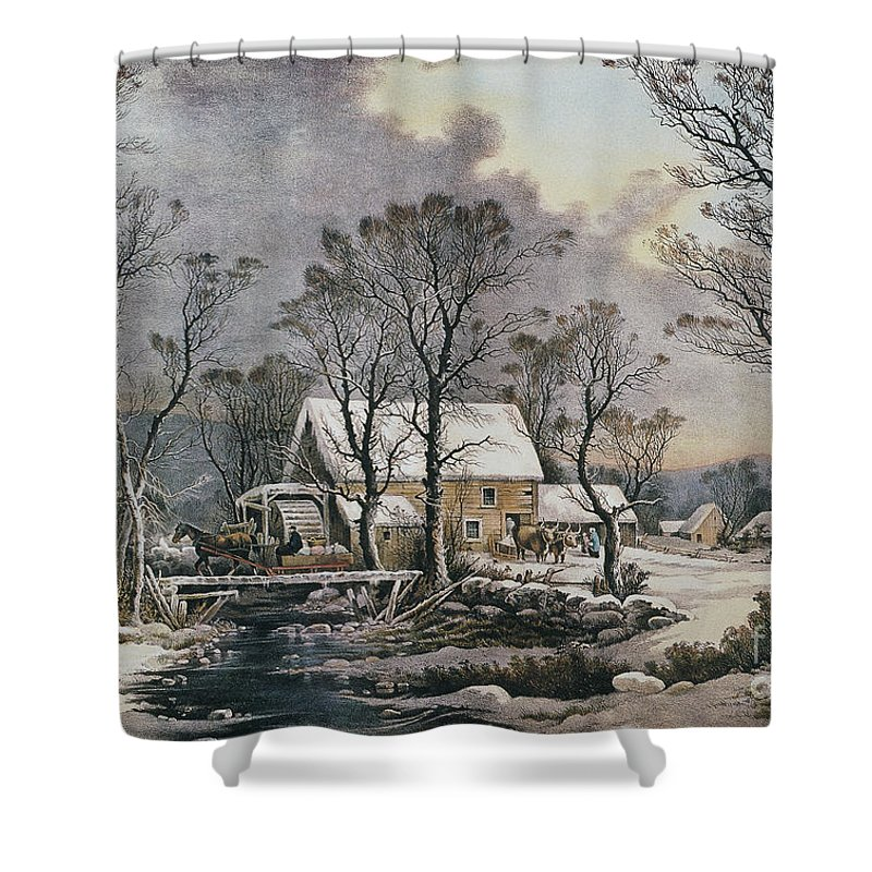1864 Shower Curtain Featuring The Photograph Currier Ives Winter Scene By Granger