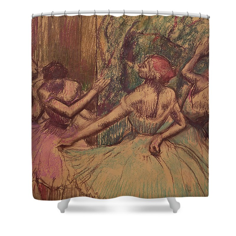 Dancers In The Wings Shower Curtain featuring the drawing Dancers In The Wings by Edgar Degas