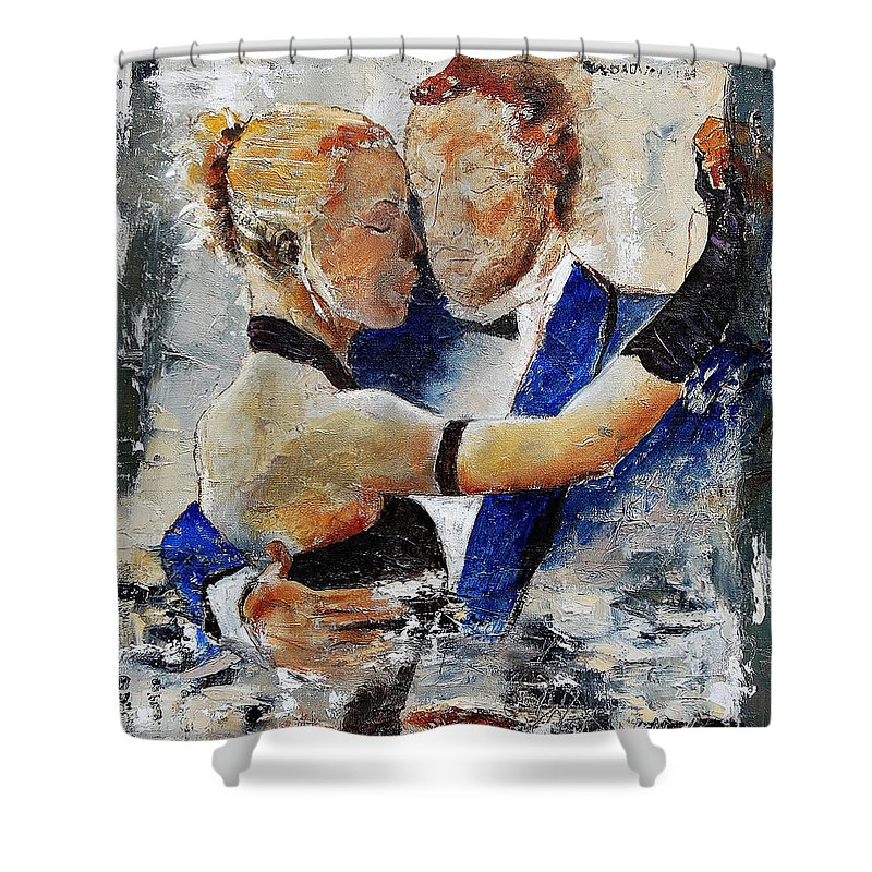 Dance Shower Curtain featuring the painting Dancing Tango by Pol Ledent