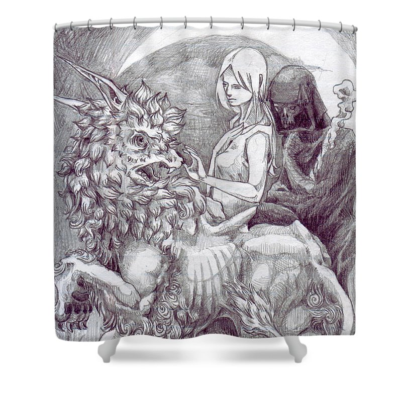 Death Shower Curtain featuring the drawing Death Devil And Maiden by Yen Shu Liao