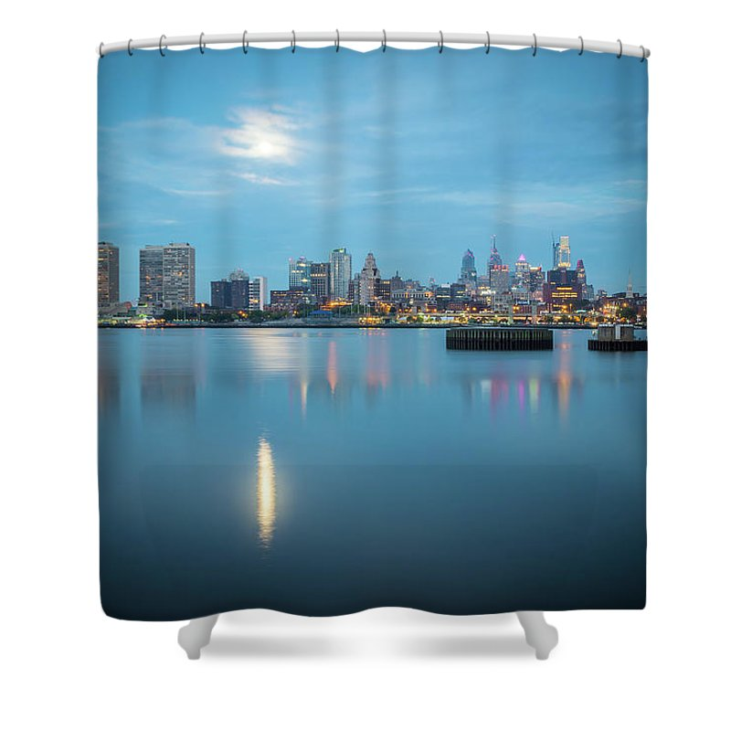 City Shower Curtain featuring the photograph early morning sunrise over city of philadelphia PA by Alex Grichenko