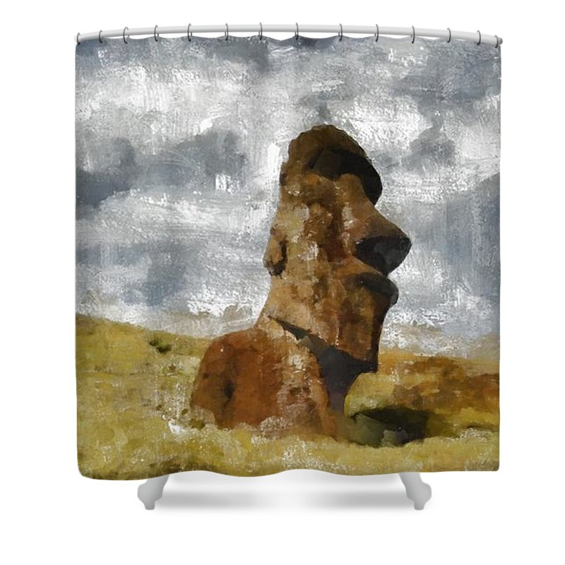 Fantasy Shower Curtain featuring the painting Easter Island by Mary Bassett