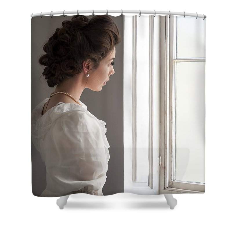 Edwardian Shower Curtain featuring the photograph Edwardian Woman At The Window by Lee Avison