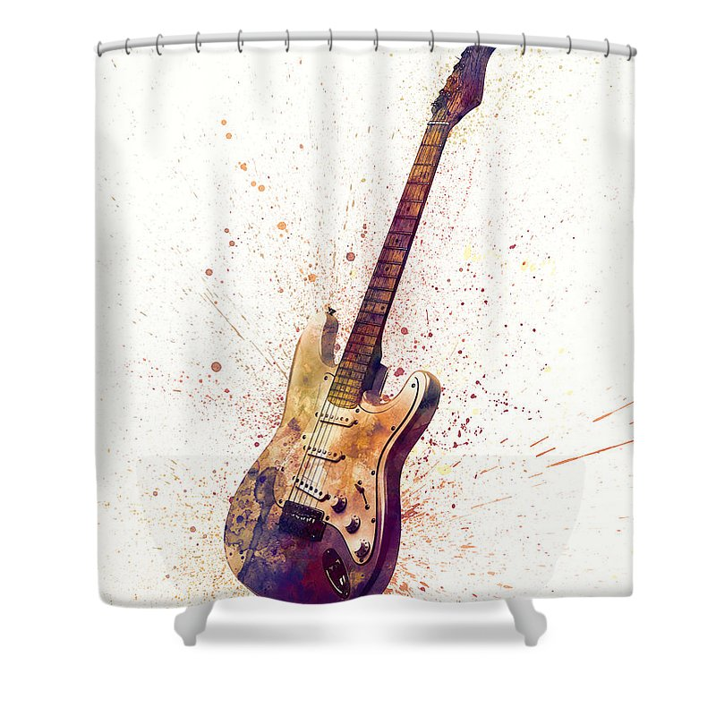 Electric Guitar Shower Curtain featuring the digital art Electric Guitar Abstract Watercolor 2 by Michael Tompsett