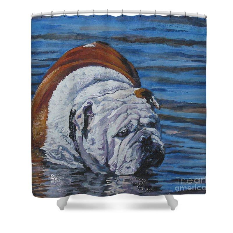 English Bulldog Shower Curtain featuring the painting English Bulldog by Lee Ann Shepard