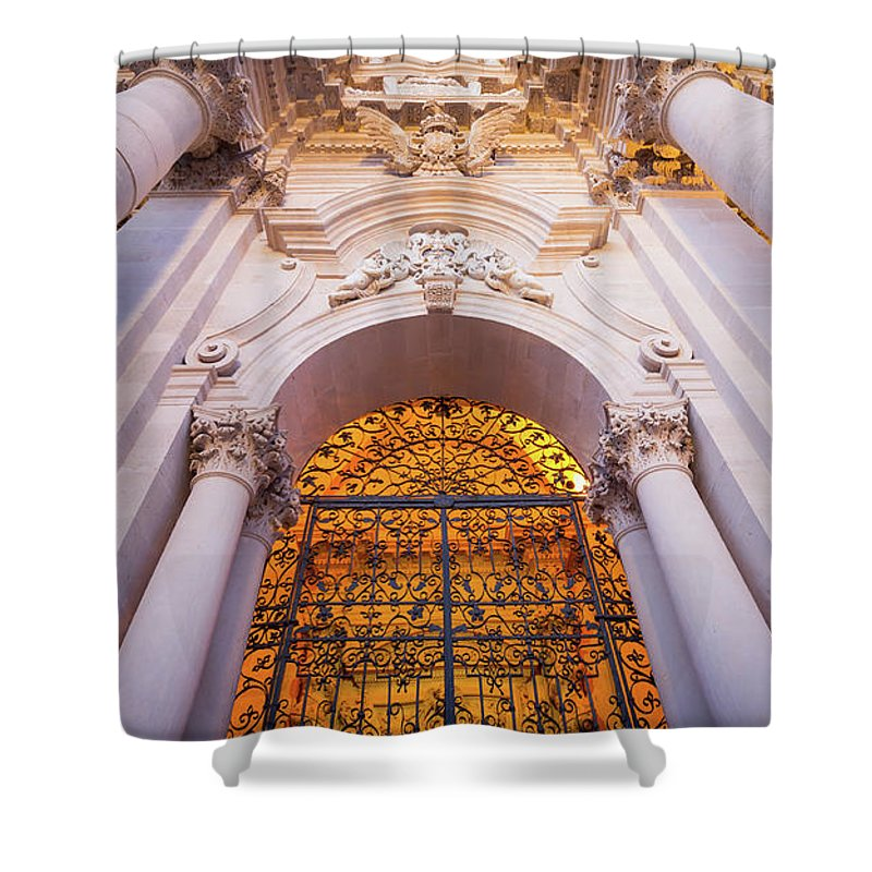 Architecture Shower Curtain featuring the photograph Entrance Of The Syracuse Baroque Cathedral In Sicily - Italy by Paolo Modena