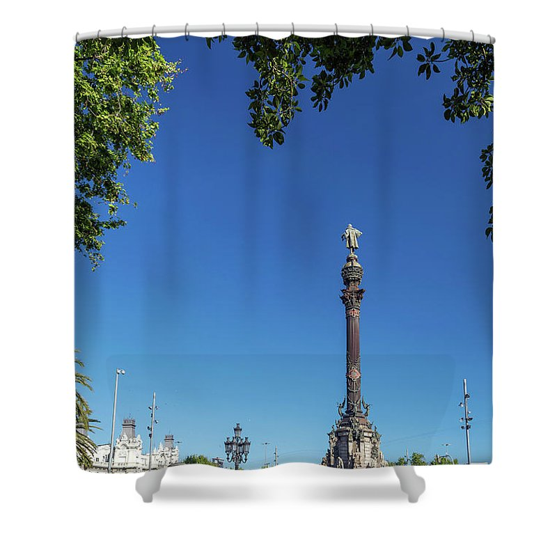 Catalonia Shower Curtain featuring the photograph Famous Columbus Monument Landmark In Central Barcelona Spain by Jacek Malipan