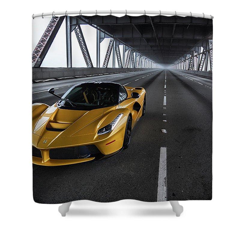 F12 Shower Curtain featuring the photograph #ferrari #laferrari #print by ItzKirb Photography