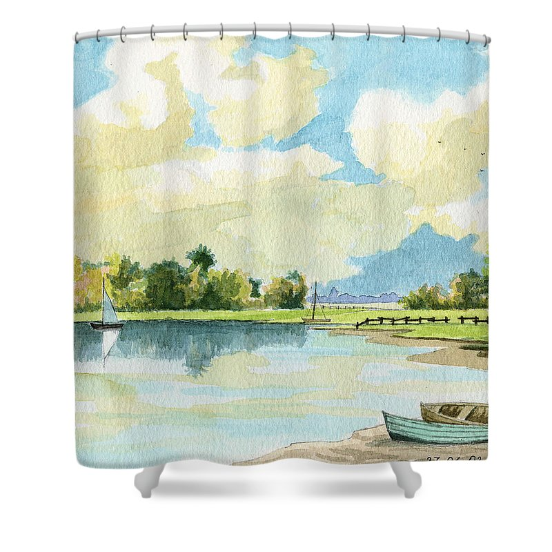 Lake Shower Curtain featuring the painting Fishing Lake by Alban Dizdari
