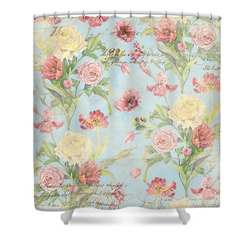 Peony Shower Curtain Featuring The Painting Fleurs De Pivoine