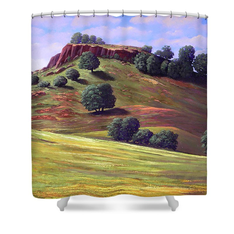 Landscape Shower Curtain featuring the painting Flowering Meadow by Frank Wilson
