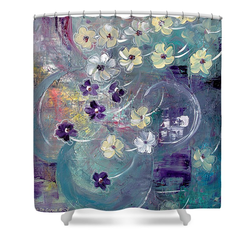 Flowers Shower Curtain featuring the painting Flowers And Dreams 5 by Gina De Gorna