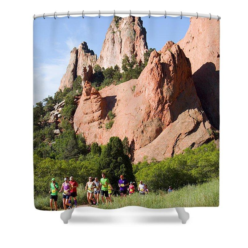 Garden Of The Gods 10 Miler Shower Curtain featuring the photograph Garden Of The Gods Ten Mile Run In Colorado Springs by Steve Krull