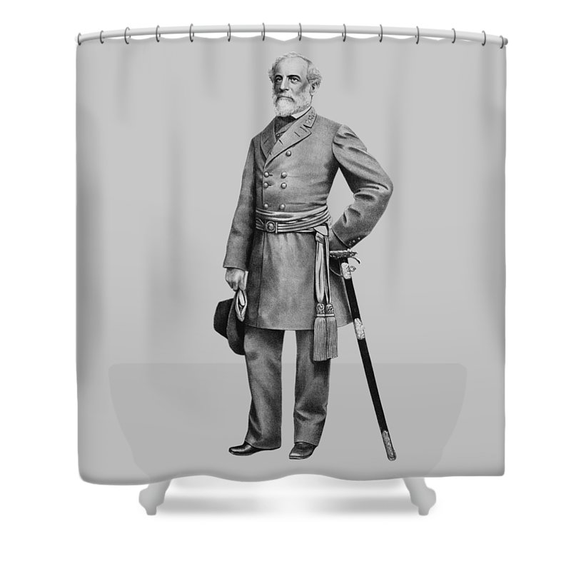 Robert E Lee Shower Curtain featuring the mixed media General Robert E. Lee by War Is Hell Store