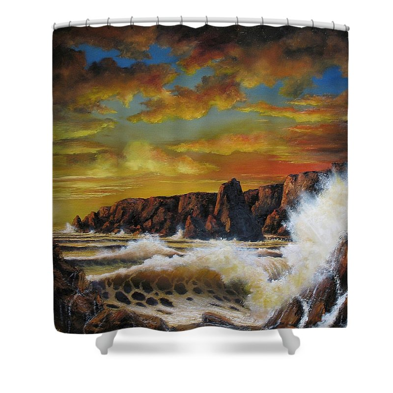 Seascape Sunset Shower Curtain featuring the painting Golden Yellow Sunset by John Cocoris