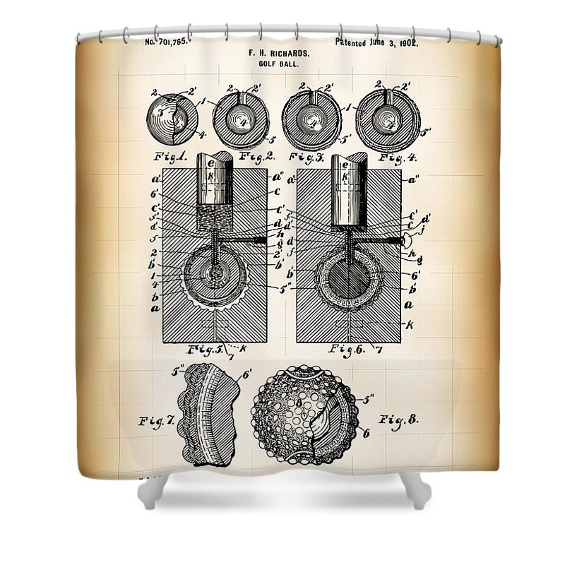 Patent Shower Curtain featuring the digital art Golf Ball Patent 1902 by Daniel Hagerman