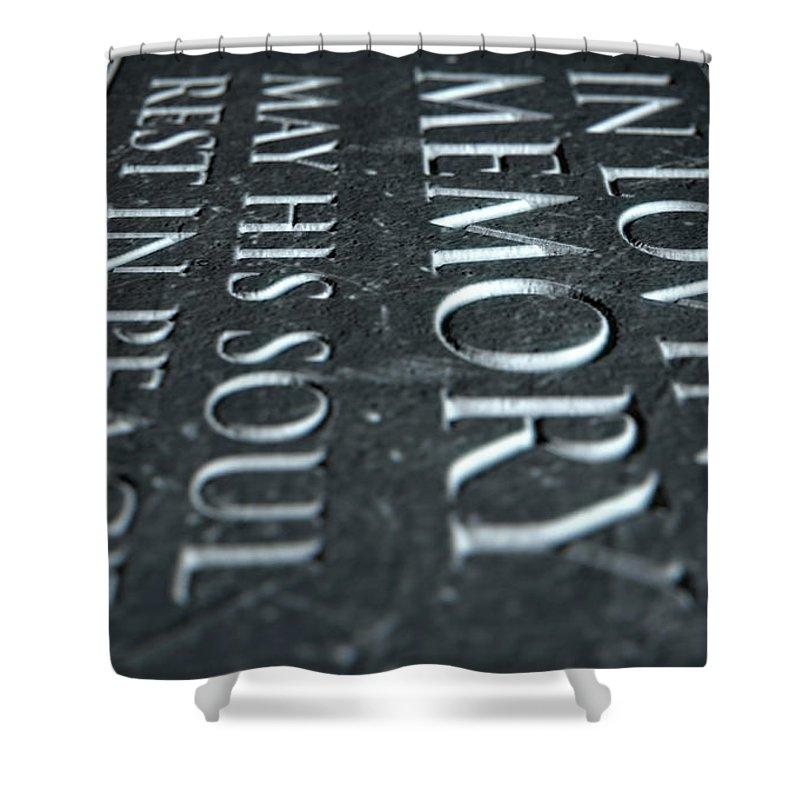 3d Render Shower Curtain featuring the digital art Gravestone In Loving Memory by Allan Swart