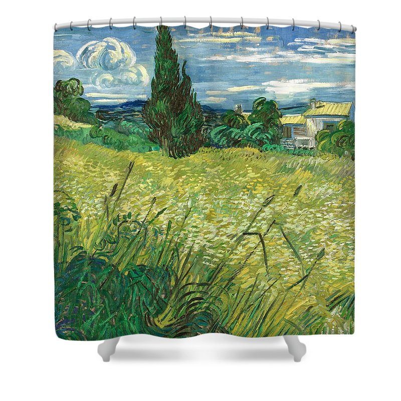 Clouds Shower Curtain featuring the painting Green Wheat Field With Cypress by Vincent van Gogh