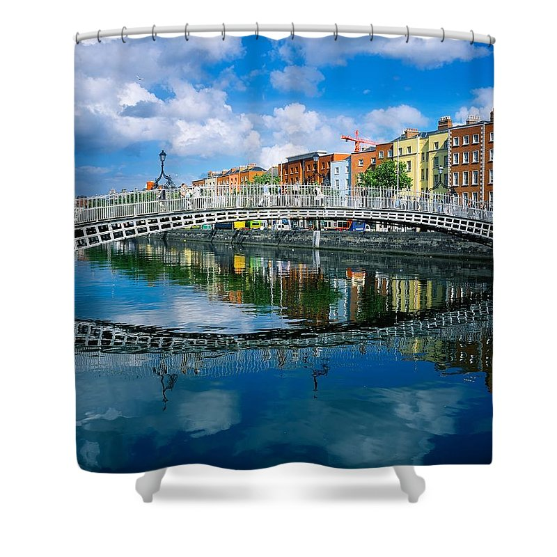 Dublin Shower Curtain featuring the photograph Hapenny Bridge, River Liffey, Dublin by The Irish Image Collection