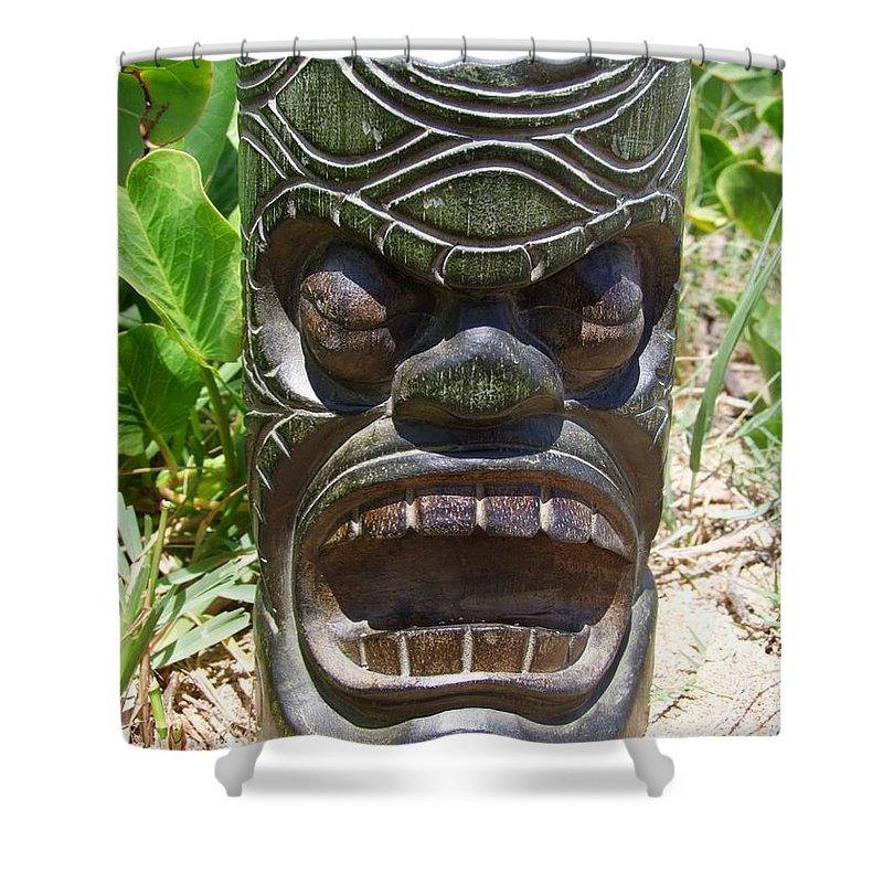 Mary Deal Shower Curtain featuring the photograph Hawaiian Tiki God Ku by Mary Deal