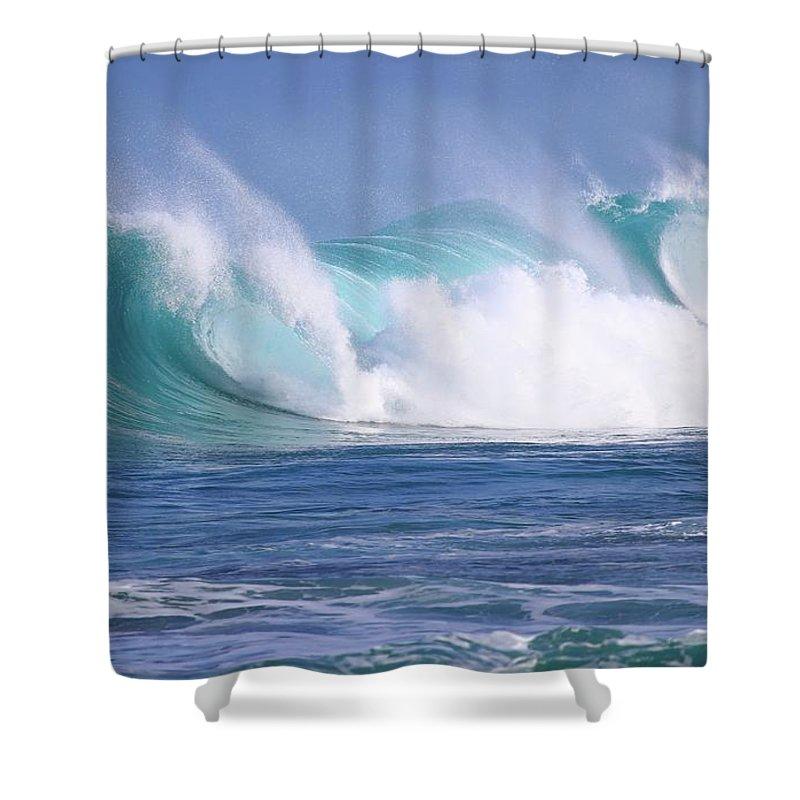 Waves Shower Curtain featuring the digital art Hawaiian Winter Waves by Heather Wischkaemper