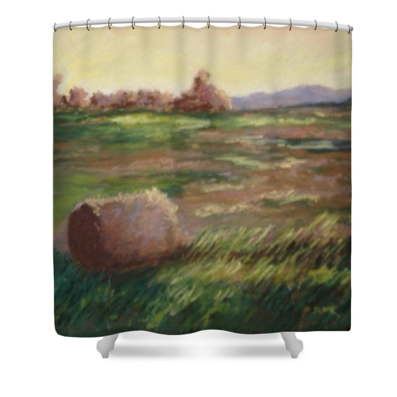 Shower Curtain featuring the pastel Hey There by Pat Snook